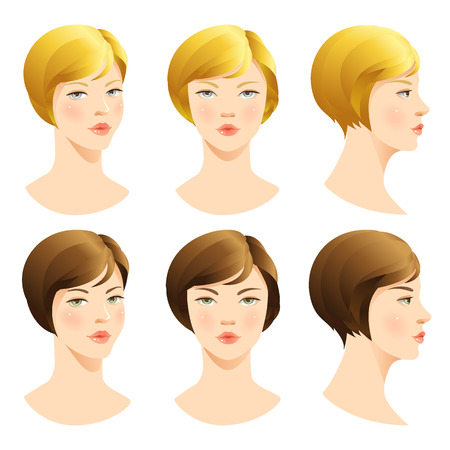 blond hair: Girl. Vector set of beautiful face. Face in front. Face in profile. Blond hair, brunette hair, Brown hair