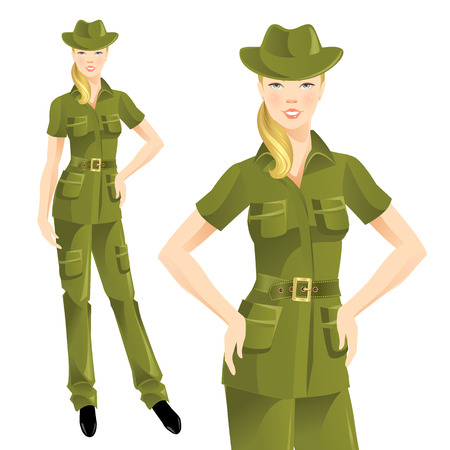 cargo pants: Girl in clothes for hike. Illustration