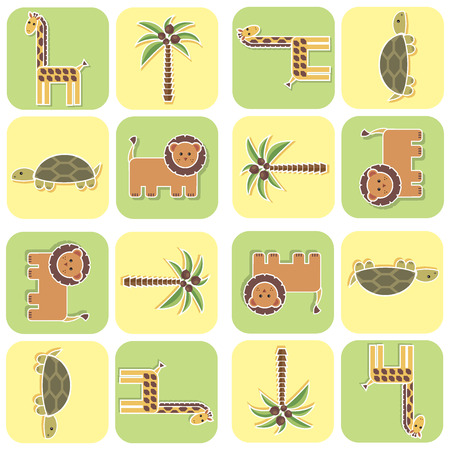 leon bebe: Pattern for children with African animals
