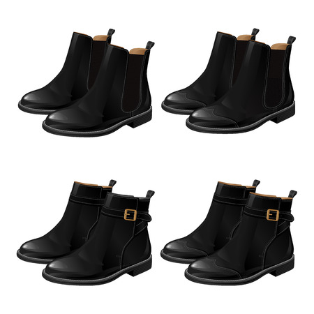 strap: Set of different model black shoes. Boots with ankle strap. Ankle boots with side elastic gussets. Illustration