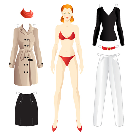 the trench: Doll with clothes. Body template. Clothes for women. Set of template paper clothes for everyday and for office