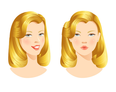 beauty girls: Beauty girls face. Pretty womans face with different emotions Illustration