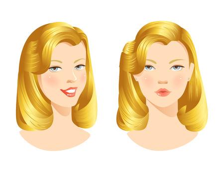niñas bonitas: Cara de niña de belleza. El rostro de mujer bonita con diferentes emociones