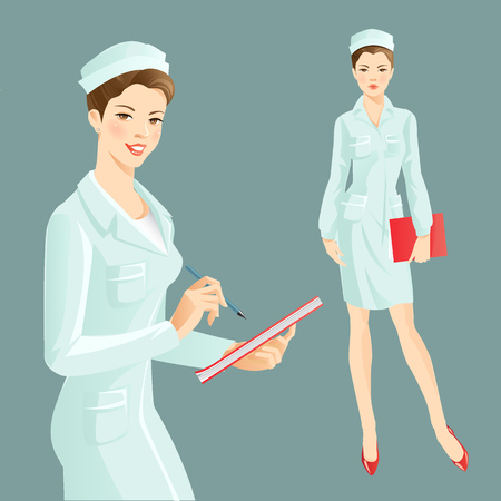 registered nurse: Nurse wrote in the document. Doctor holding a folder. A woman with smile in medical clothing