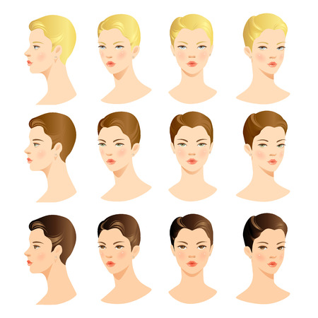 caras: Cara de la mujer. Conjunto del vector de la cara hermosa. Cara delante. Cara de perfil. Cabello rubio, pelo negro, pelo casta�o Vectores