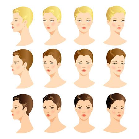 volti: Volto di donna. Vector set di bel viso. Faccia davanti. Volto di profilo. Capelli biondi, capelli castani, capelli castani Vettoriali