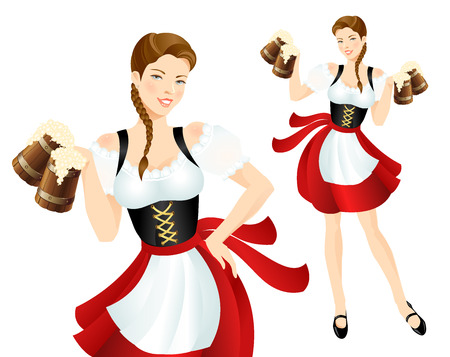 Pretty girl in bavarian national dress with beer.