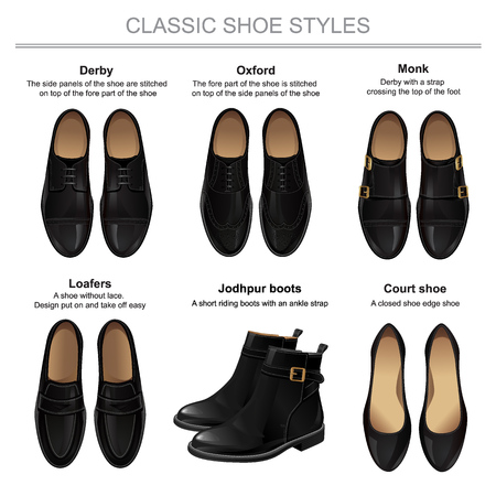 loafer: Classic shoe style. Set of man leather black shoes and woman leather black shoes