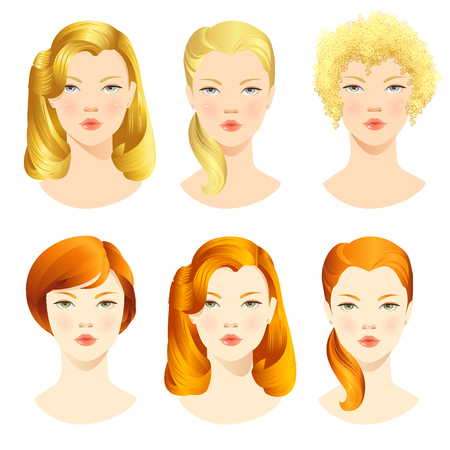 illustrations of beautiful young girls with various hair styles Vettoriali