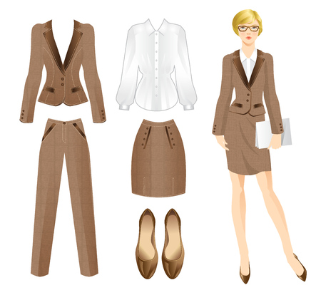 skirt suit: Office tweed clothes. Clothes for women. Business girl or professor in official suit. Woman in glasses Illustration