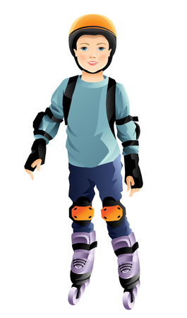 little skate: Illustration of roller skate kid