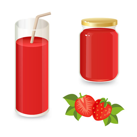strawberry: Set of strawberry jam and strawberry juice. Ripe strawberry and strawberry slices on a white background.