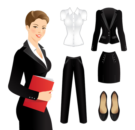 business suit: Office clothes. Clothes for women. Business girl or professor in official black suit.