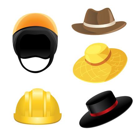 safety helmet: Sombrero de paja, casco de seguridad, sombrero negro con la cinta, sombrero cl�sico Vectores