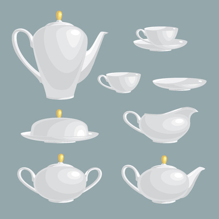 gravy: Set of template tea service of white color. Kettle, gravy boat, sugar bowl, cup, plate, butter-dish