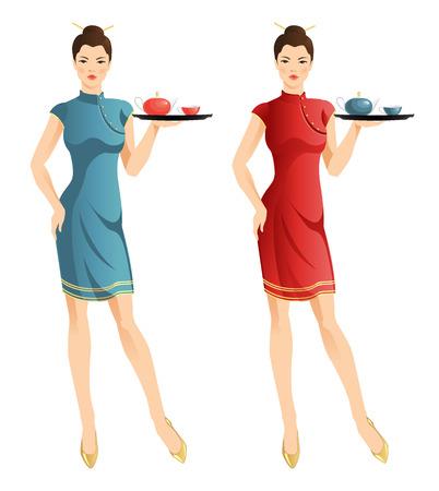 Waitress with tray. Pretty asian woman.