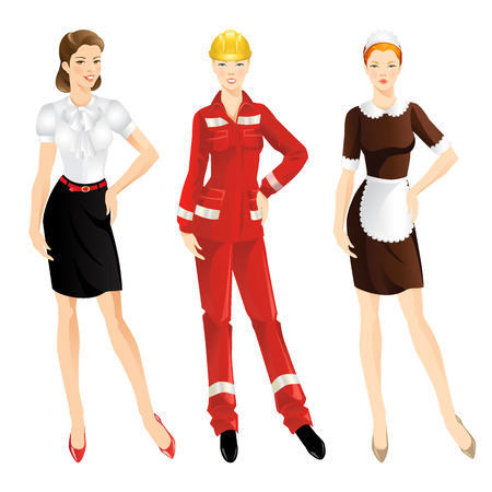 secretary skirt: Professional women. Manager or secretary, worker in protective wear and helmet, maid in uniform.