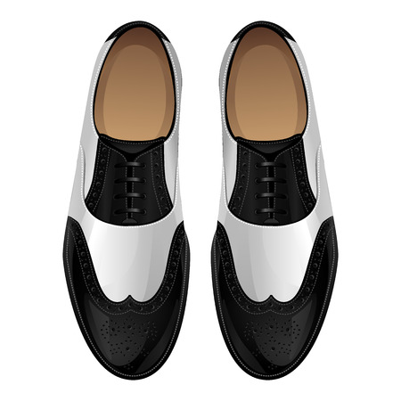 shoes vector: Black and white classic oxford shoes. Shoes in retro style