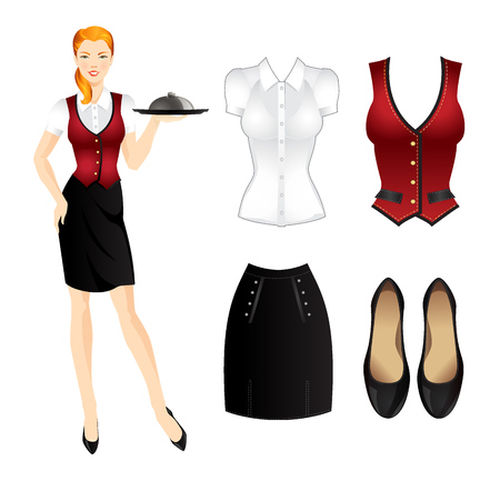 Redhead smiling waitress in uniform. Waitress with tray. Set of uniform clothes Stock Illustratie