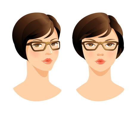 girl glasses: Beauty woman face. Face woman in glasses. Illustration