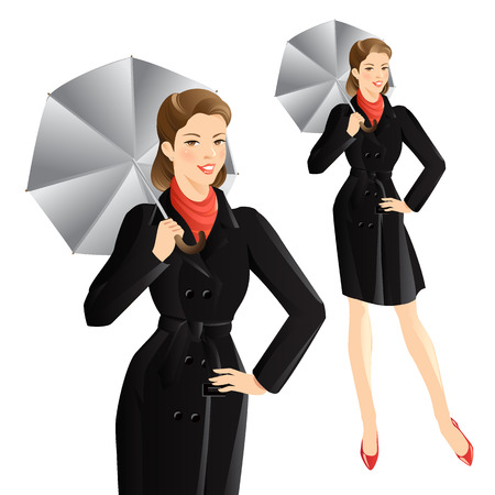 stylish woman: Smiling girl in trench-coat with umbrella