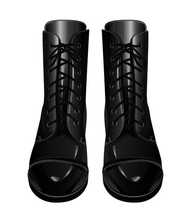 foot soldier: Black army boots Illustration