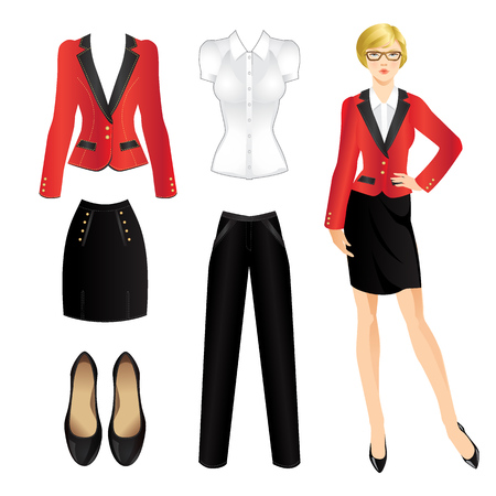 official wear: Uniform clothes. Clothes for women. Business girl or professor in uniform red suit. Woman in glasses Illustration