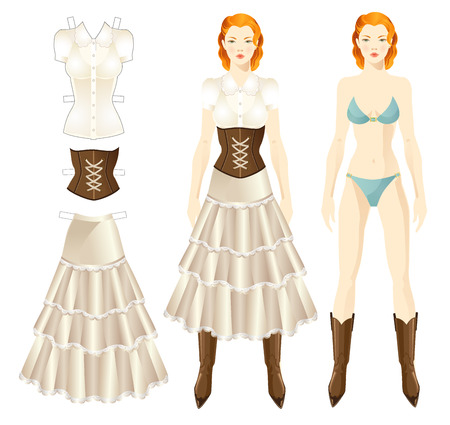 country style: Doll with clothes. Body template. Set of template paper clothes in country style. Skirt, corset with lace, blouse. Girl in country style clothes Illustration