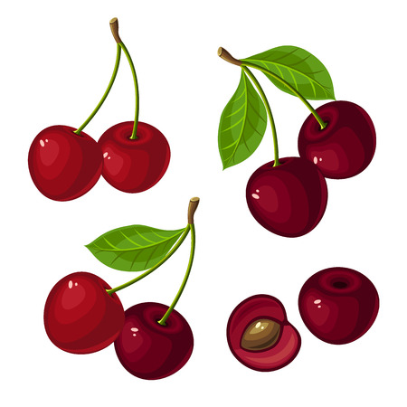 Ripe cherry and cherry slices on a white background.