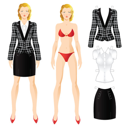 skirt suit: Doll with clothes. Body template. Set of template paper clothes. Office clothes.