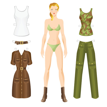 hike: Doll with clothes. Body template. Set of template paper clothes in military style for hike.