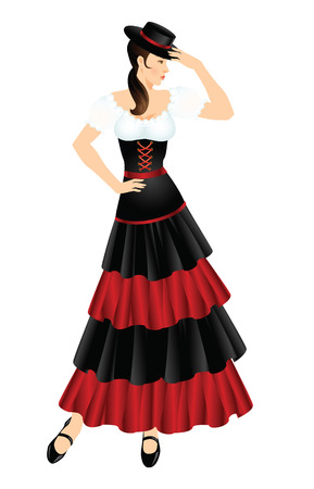ankle strap: Flamenco dancer. Woman in spanish costume. Women dress hat on head. Illustration