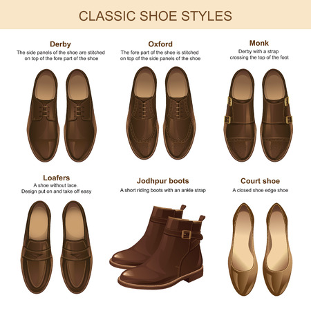 businessman shoes: Classic shoe style. Set of man leather brown shoes and woman leather brownshoes