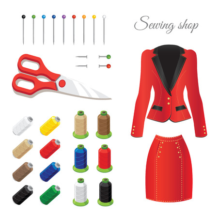 tailoring: Sewing and tailoring Icons. Colored thread, colored pins, scissors. Red suit Illustration