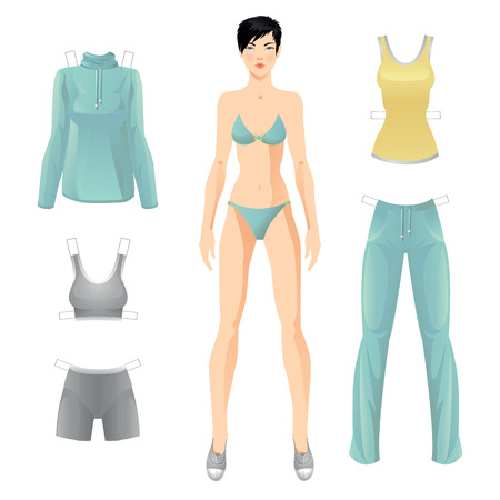 white dress: Doll with clothes. Body template. Clothes for women. Set of template paper clothes for sport
