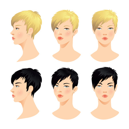 Vector set of beautiful woman face. Various color of short haircuts. Various turns head. Face in front. Face in profile. Blond hair, black hair
