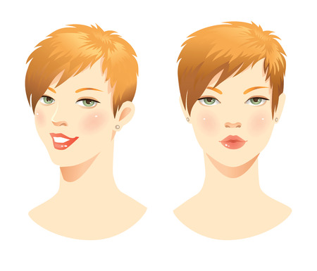 red lips: Redhead woman with different emotion. Woman face. Woman with smile