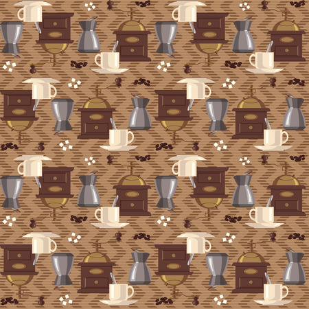 coffee mill: Coffee pattern. Coffee mill, coffee, sugar, cup. Tapestry background