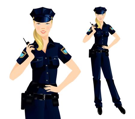 mujer policia: Mujer policía hermosa rubia en uniforme. Mujer Oficial aislado en blanco