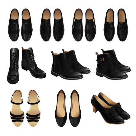 Classic shoe style. Set of man leather black shoes and woman leather black shoes
