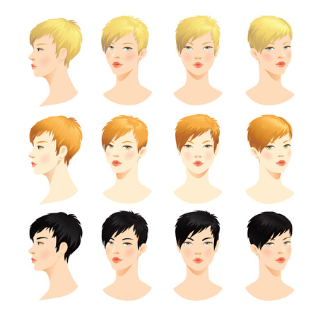 haircut: Woman face. Various turn heads. Vector set of beautiful face. Face in front. Face in profile. Blond hair, brunette hair, Red hair Illustration