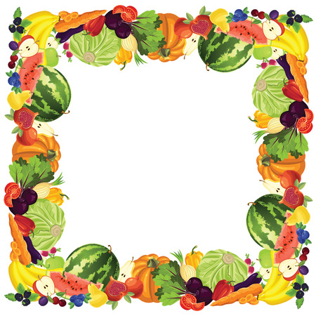 Border with ripe vegetable, fruits and berry