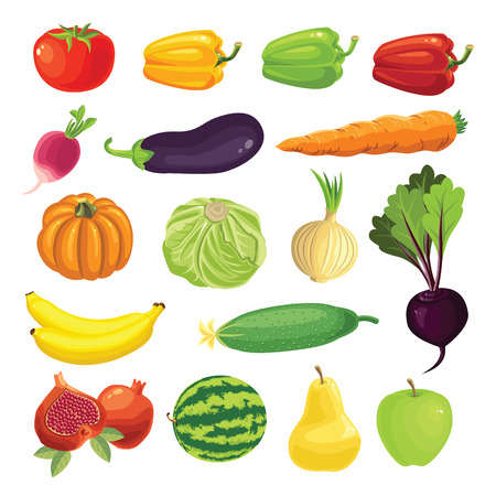 Set of various fruit and vegetables.