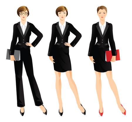 Business woman or professor in official black suit. Woman in glasses.