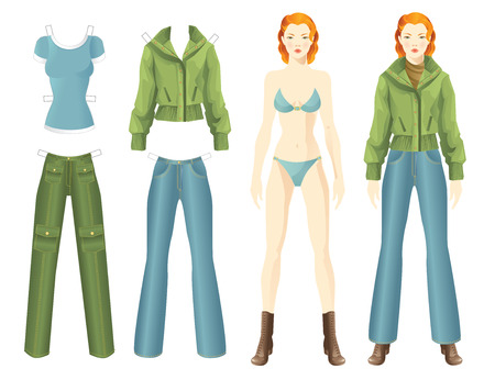 mindennapi: Doll with clothes. Body template. Clothes for women. Set of template paper clothes for everyday. Girl in bomber jacket and jeans