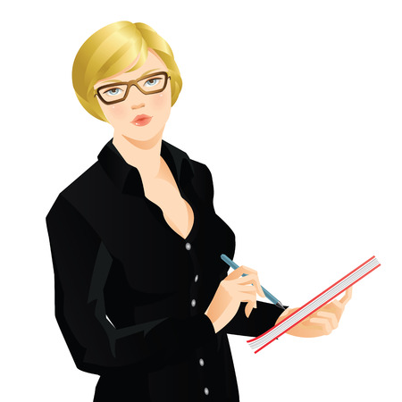 Young blonde woman in black shirt writing the document. Serious woman in glasses