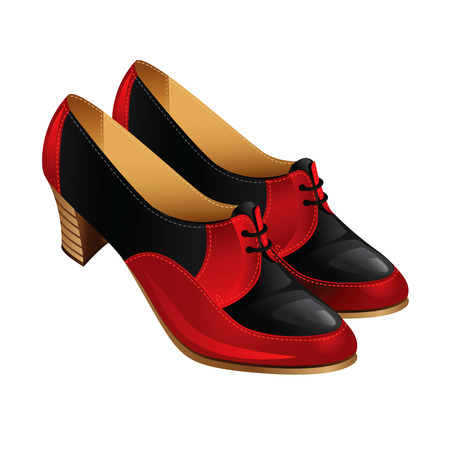 varnished: Classic autumn shoes with laces on middle heel. Women shoes isolated on white. Shoes with combination red and black color