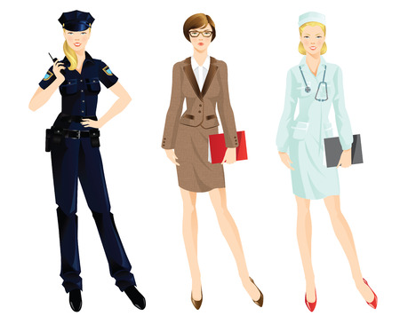 official wear: Set of professional woman isolated on white background. Woman in uniform. Professor or teacher, policewoman, doctor