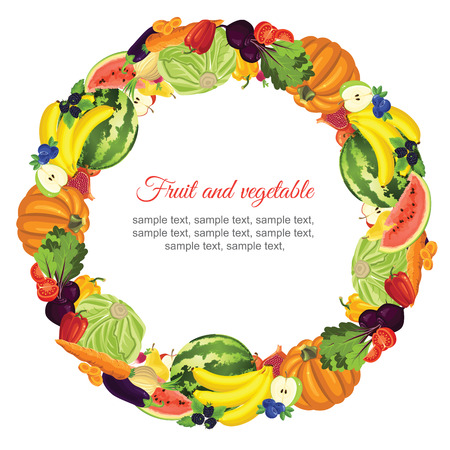 fruit and vegetable: Round ornament with various vegetable, fruit and berries
