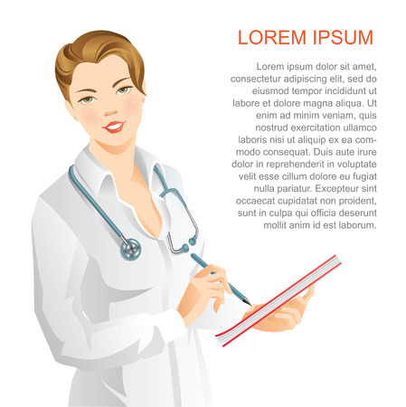clinical staff: Woman doctor write in document.